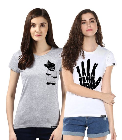 Young Trendz Womens Combo Half Sleeve Tweety Printed Grey Color and Talk Printed White Color Tshirts
