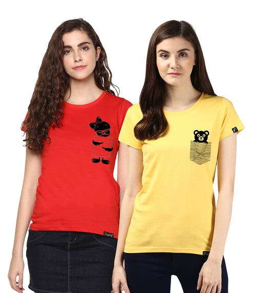 Young Trendz Womens Combo Half Sleeve Tweety Printed Red Color and Teddy Printed Yellow Color Tshirts