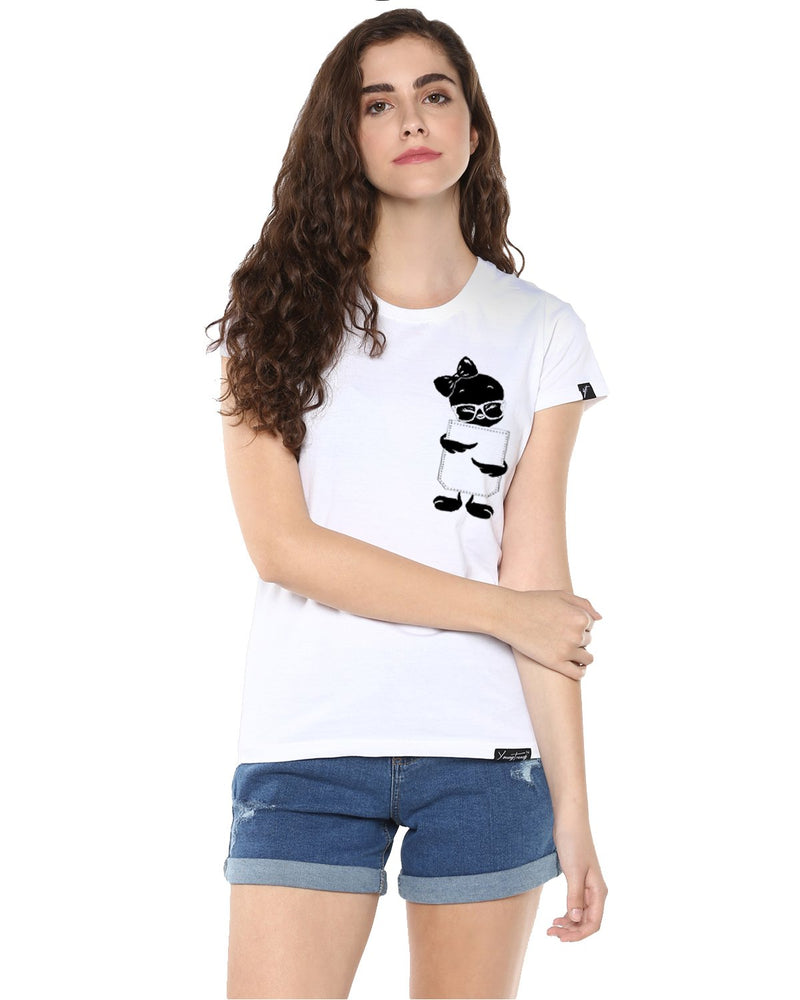 Womens Half Sleeve Tweety Printed White Color Tshirts