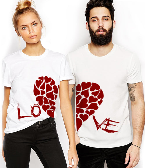 Young Trendz Bio-Wash Cotton Half Sleeve Heart and Mikky Couple Graphic Printed MULTICOLOR T-Shirt