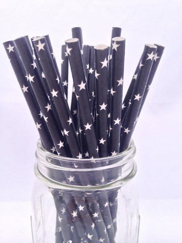 Black Stars Solid Paper Straws, 25-pack