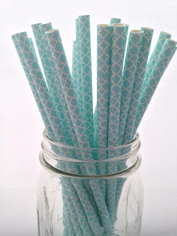 Light Blue Paisley Paper Straws, 25-pack