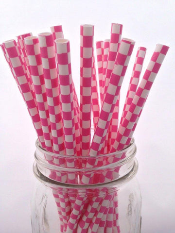 Bubblegum Pink Square Paper Straws, 25-pack