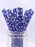 Navy Blue Stars Solid Paper Straws, 25-pack