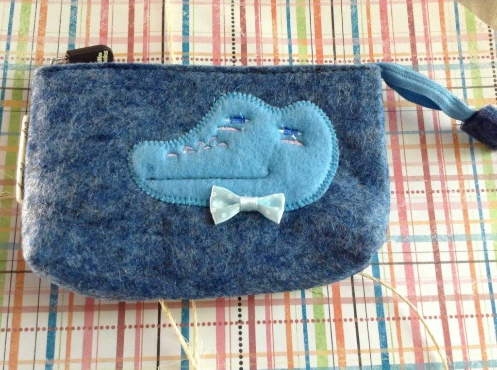 Felt Makeup Bag Crocodile Denim Blue