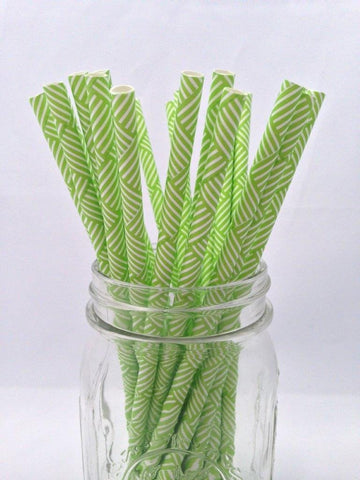 Green Criss-Cross Paper Straws, 25-pack