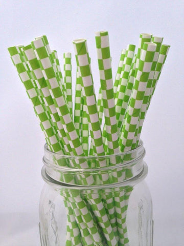 Green Square Paper Straws, 25-pack
