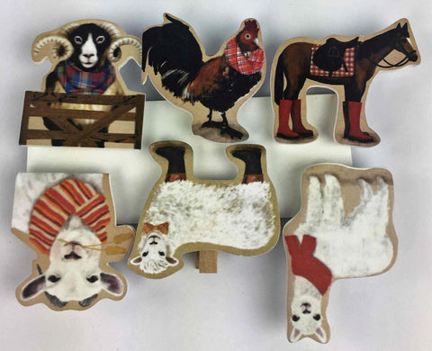 Wooden Farm Animal Clips - Assortment of 6
