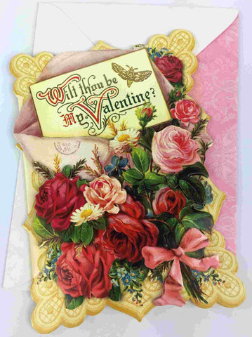 3D Vintage Valentine Day Card - Will you be my Valentine?