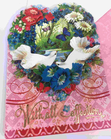 3D Vintage Valentine Day Card - Flower Heart with Doves