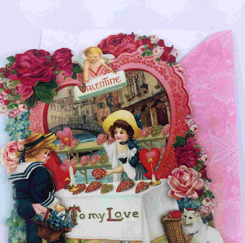 3D Vintage Valentine Day Card - To my Love