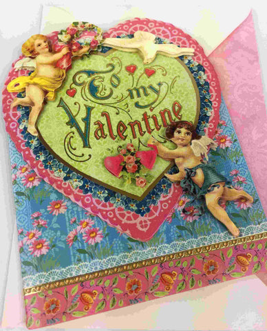 3D Vintage Valentine Day Card - To my Valentine
