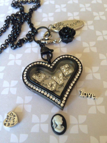 Black Heart Love Locket Set - 35mm