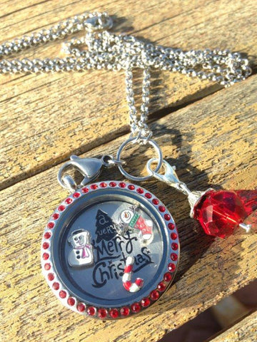 Merry Christmas Locket Set, Red Crystals - 30mm