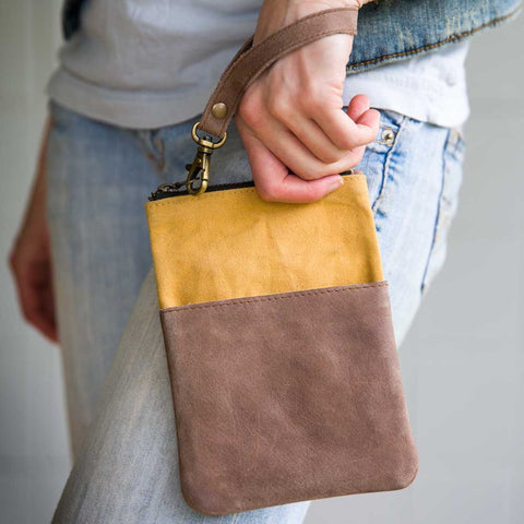 Leather Pocket Tall Wristlet