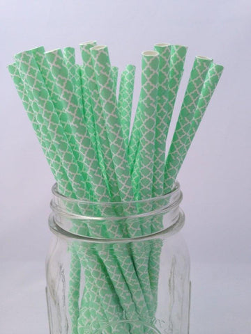 Mint Paisley Paper Straws, 25-pack