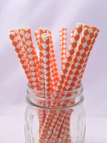 Orange Diamond Paper Straws 25pack
