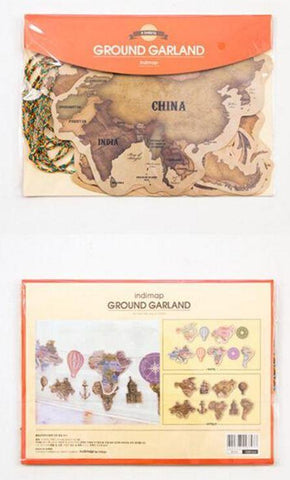Antique Continent World Travel Garland