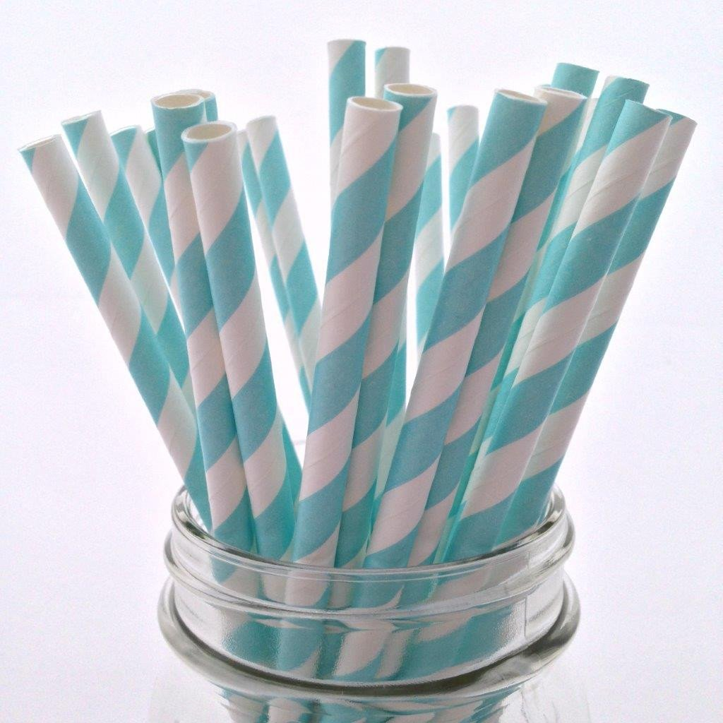 Aqua Striped Paper Straws - 25-pack