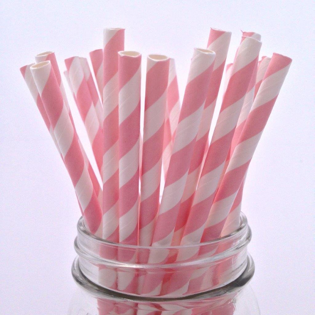 Baby Pink Striped Paper Straws - 25-pack