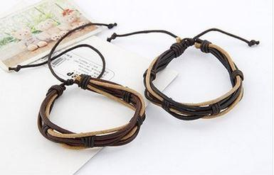 Beige - Dark Brown Leather Cords Bracelet