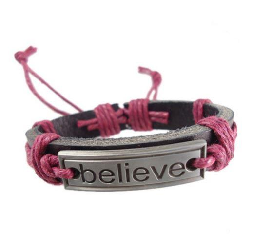 Believe Maroon Leather Bracelet