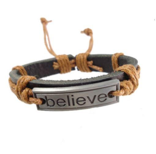 Believe Tan Leather Bracelet