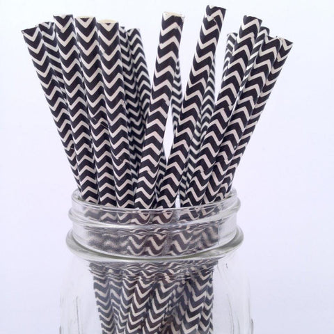 Black Chevron Paper Straws, 25-pack