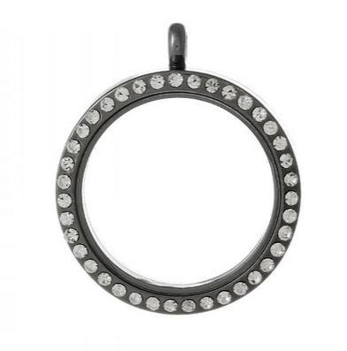 Black Round Crystal Rim Magnetic Locket 30mm