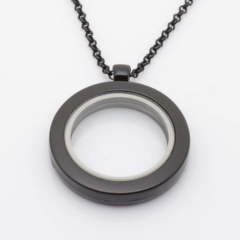 Black Round Smooth Rim Magnetic Locket 30mm