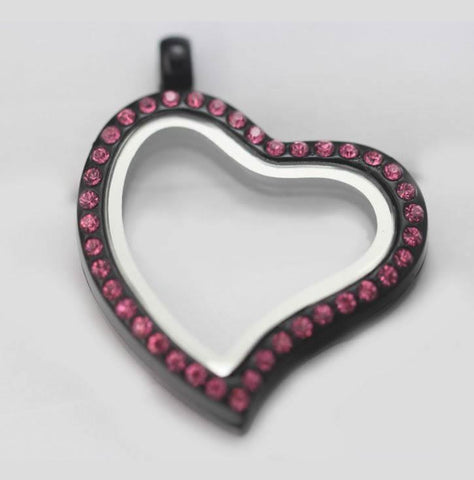 Black Slanted Heart Pink Crystal Rim Magnetic Locket 30mm