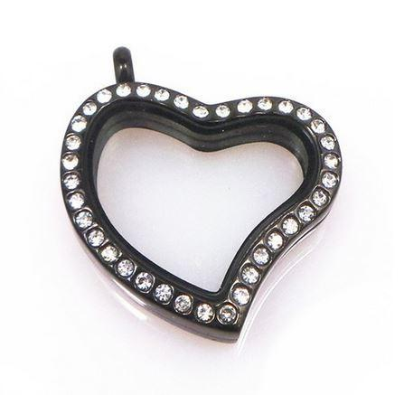 Black Slanting Heart Crystal Rim Magnetic Locket