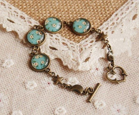 Bronze Strap - Teal Blossoms