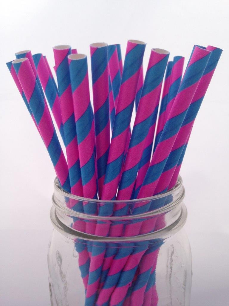 Bubblegum Pink Blue Striped Paper Straws, 25-pack
