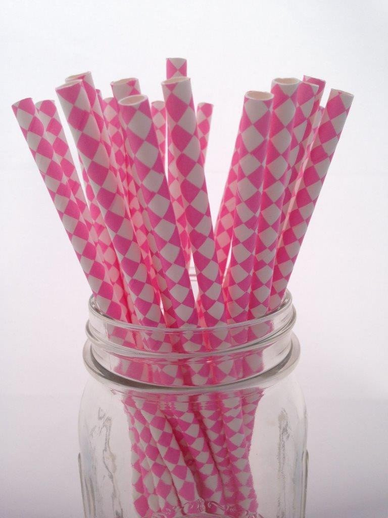 Bubblegum Pink Diamond Paper Straws 25pack
