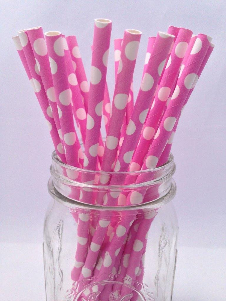 Bubblegum Pink Polka Dot Solid Paper Straws, 25-pack