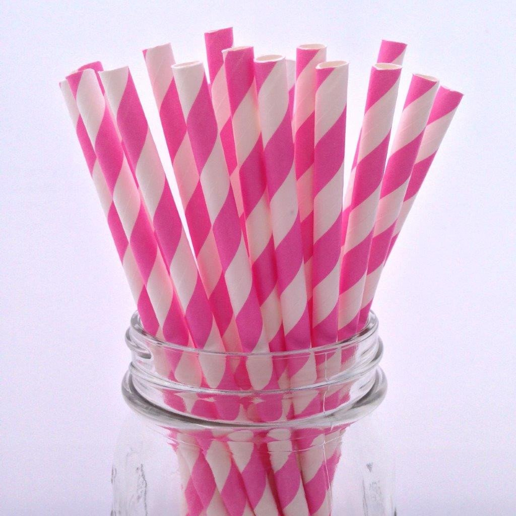 Bubblegum Pink Striped Paper Straws - 25-pack