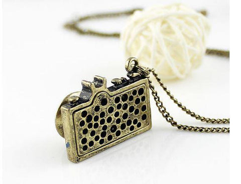 Camera Necklace - Glazed Blue
