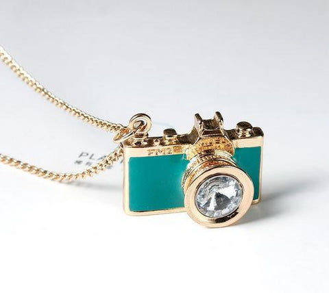Camera Necklace - Glazed Aqua