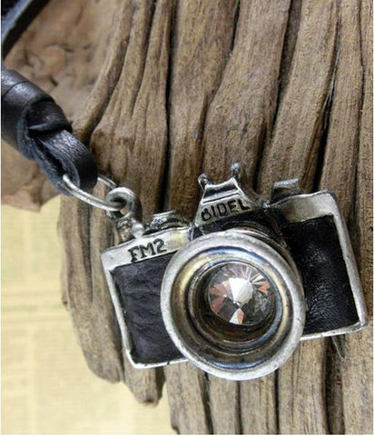 Camera Necklace Black Leather Face