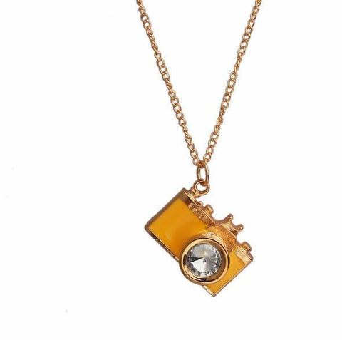 Camera Necklace - Glazed Yellow