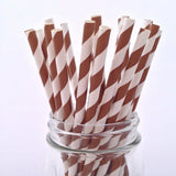 Chocolate Brown Striped Paper Straws - 25-pack