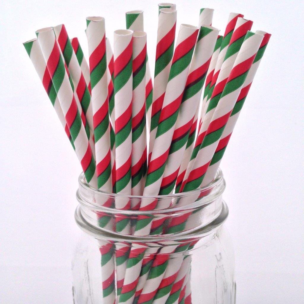 Christmas Striped Mix Paper Straws - 25-pack
