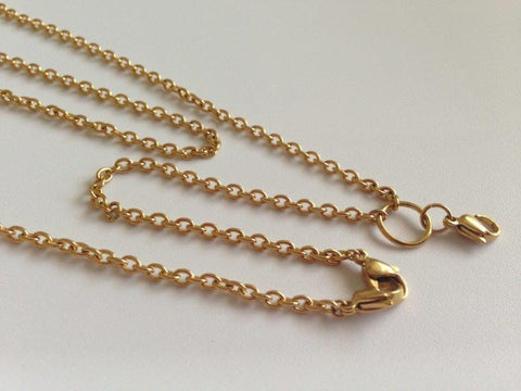 "Classic Gold 30"" Two Locket Link Chain 3mm"