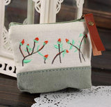 Coin Purse - Spring Garden Beige, Greenish Gray