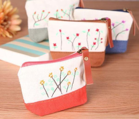 Coin Purse - Spring Garden Beige, Red