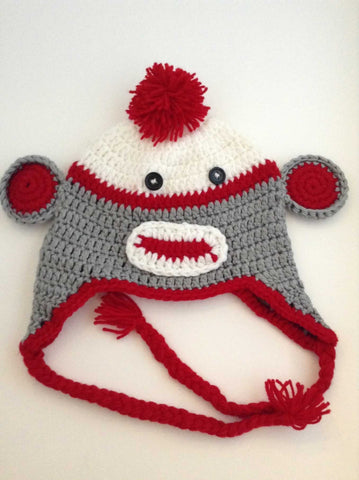 Crochet Hats - Sock Monkey - Grey Red