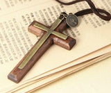 Cross Necklace - Wood Cross, Leather Cord