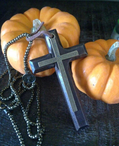 Cross Necklace - Wood Cross,  Metal Chain