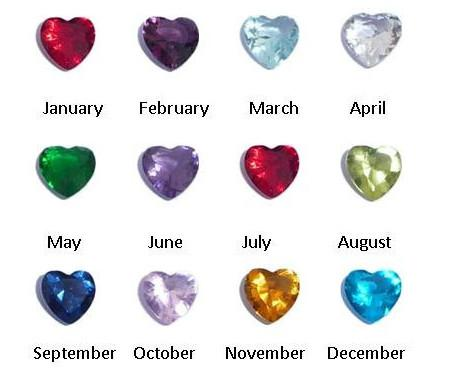 Crystal Heart Birthstones